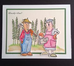 SC0650 Ai His and Hers Gardeners from Art Impressions. Ai clear sets (Hampton Arts at Michael's) Handmade card.