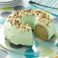 "Taste of Home: Pistachio Cake. ""This recipe's been under lock and key for years in our family. Everyone who's ever tried this moist, one-of-a-kind cake can't believe it's a mix."" It's perfect for St. Patrick's Day…and you won't need the luck of the Irish to whip it up! —Suzanne Winkhart, Bolivar, Ohio  ***Use pistachios instead of walnuts!!!***"