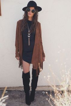 Steve Madden Black Thigh High Boot fall outfit ideas, fall style, casual outfits, black dress and boots,