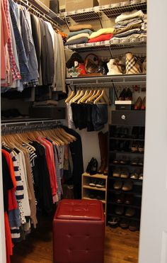 I'm slightly offended that this blogger thinks her master closet is small. Seriously! You can walk into it! Many people don't have a closet even this big! And she still has room to stick an ottoman in there! @ Alana Humphrey