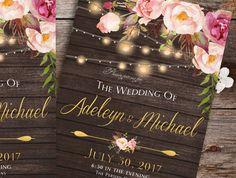 Rustic Wedding Invitation printable  Country by DivineGiveDigital