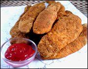 HG Recipe for Fiber-Fried Chicken strips. 5 strips for 250 cals,14g fiber &42g protein.