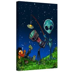 'UFO Kid 3' by Luis Peres Graphic Art on Wrapped Canvas