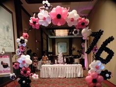 What's your Sweet 16 Theme? Balloon Arches set the stage. Beautiful.