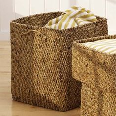 Water Hyacinth Laundry Basket - Click to shop stylish organization and home decorating ideas at Hudson and Vine. Perfect for your Farmhouse, French Country, Bohemian, or Coastal interior decorating style.