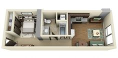 Another with bathroom in the middle to separate living and sleeping areas.