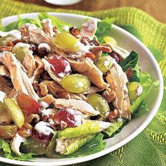 Healthy lunch recipes: Chicken, Grape and Walnut Salad Lunch Recipes, Diet Recipes, Cooking Recipes, Healthy Recipes, Yummy Recipes, Healthy Options, Amazing Recipes, Grape Salad, Eating Clean