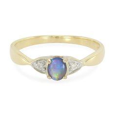 Bague en or et Opale noire de Lightning Ridge - une offre Juwelo à prix imbattable, en direct du fabricant. Livré avec certificat d'authenticité.