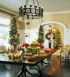 A beautiful table laden with holiday foods, decorated with the Christmas spirit in mind always sets the tone for a beautiful and elegant holiday season.