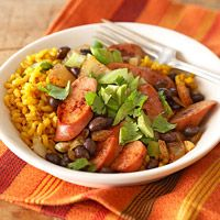 Diabetic Living: Black Beans and Yellow Rice with Fresh Tomatillo Topping