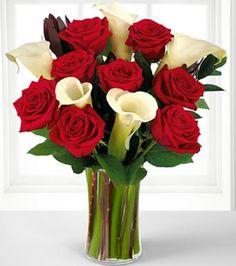 Valentine's Flowers Beautiful Red Rose and Calla good deal! Rose And Lily Bouquet, Lily Bouquet Wedding, Calla Lily Bouquet, Sunflower Bouquets, Calla Lillies, Wedding Flowers, Lilies, Bouquet Flowers, Rose Flowers