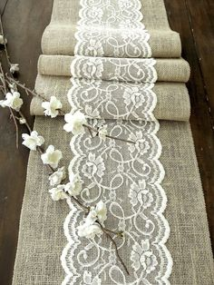Wedding+table+runner+with+ivory+lace+rustic+chic+by+HotCocoaDesign,+$28.00