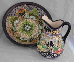 Talavera pitcher and basin created by GEM Villaseca in Dolores Hidalgo Talavera Pottery, Ceramic Pottery, Pottery Art, Southwest Decor, Mexican Art, Mexican Tiles, Hand Painted Ceramics, Ceramic Painting, Flower Pots