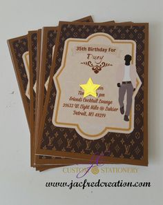 DESIGNER INSPIRED INVITATIONS FOR HIM (10) Invites are 4x6 and comes with envelopes. 10 per set The Star on the invite is not included  This invite is also available as an e-file where you will receive the file via email and you print the amount you want Click on this link >>>>>>> https://www.etsy.com/listing/399695157/designer-inspired-invitation-for-him-e?ref=shop_home_active_1  ***Processing and Shipping**** BECAUSE THIS ITEM IS MADE TO OR...