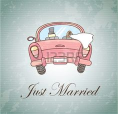 Just married over vintage background illustration