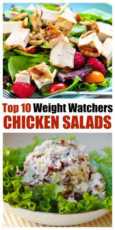 A great collection of easy healthy scrumptious chicken salads for Weight Watchers with SmartPoints - Perfect for summer and all year long - BBQ Chicken Salad Asian Strawberry Avocado Wasabi and more! Chicken Salad Recipe Easy Healthy, Weight Watchers Chicken Salad Recipe, Low Calorie Chicken Salad, Easy Salad Recipes, Chicken Salad Recipes, Easy Healthy Recipes, Easy Meals, Free Recipes, Dinner Recipes