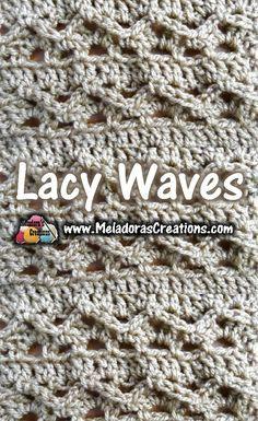Lacy waves crochet stitch tutorial