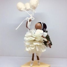 ADORABLE AND LOVELY ONE OF A KIND FAIRY! African Flower Fairy is the perfect birthday gift for a special someone! She is truly a beautiful princess! Beautiful an adorable Flower Fairy Princess is celebrating her birthday month and having fun. She is wearing white pedals with