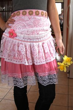 Romantic Pink with White Lace Shabby Chic Skirt/Apron with Flower