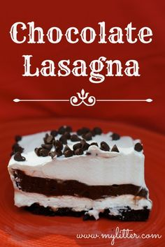 This is a super easy dessert recipe called Chocolate Lasagna!  It is VERY similar to a recipe my Grandma has made for a long time, she called it 5 Layer Dessert and really the only difference was the crust (Grandma made a shortbread cookie crust)!