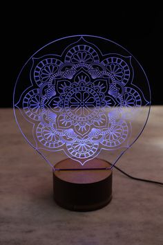 Glass Partition Designs, Lampe 3d, Laser Cutter Projects, 3d Light, Night Lamps, Led Night Light, Glass Etching, Dremel, Diy Art