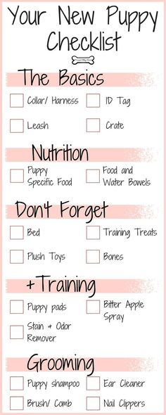 Your New Puppy Checklist | Dog Infographic | (scheduled via http://www.tailwindapp.com?utm_source=pinterest&utm_medium=twpin&utm_content=post94758415&utm_campaign=scheduler_attribution)