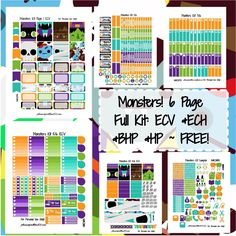 Monsters kit! | Free Printable Planner Stickers from plannerproblem101.com!