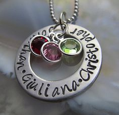 Personalized Necklace Mothers Day Gift Customized Washer Necklace Birthstone Necklace Gift For Her on Etsy, $29.00