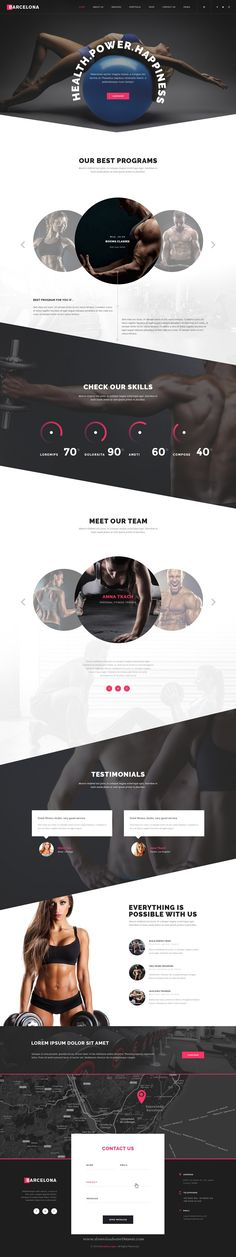 Barcelona is a powerful, modern and creative PSD #template for Sport and #Gyms, being suited as well for other similar type of businesses #website.