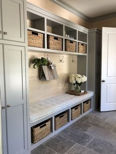 Let these mudroom entryway ideas welcome you home. Instantly tidy up and organize your hallway or entryway with industrial mudroom entryway. Mudroom Laundry Room, Mudroom Cubbies, Mud Room Garage, Garage Entry, Laundry Room Design, Front Entry, Mudrooms With Laundry, Mud Room Lockers, Garage Conversion To Family Room