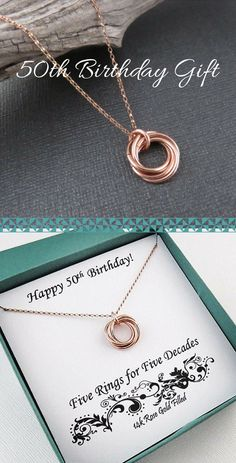 50th Birthday Gift for Women | Rose Gold Ring Necklace Handmade Jewelry by MarciaHDesigns | 50th Birthday Necklace