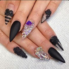 Matte Black Stiletto Acrylic Nails w/ Rhinestones