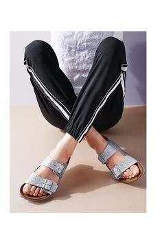 These silver Birkenstocks are perfectly on-trend.