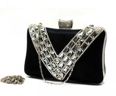 free-Shipping-Luxury-V-style-Rhinestone-Evening-Bag-Fashion-Diamond-Clutch-Bag-Handbag-Gold-Silver-Black 50 Fabulous & Elegant Evening Handbags and Purses