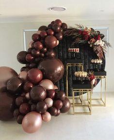 This balloon swag + black velvet backdrop is srsly insane! House Party Decorations, Birthday Balloon Decorations, Birthday Balloons, Party Themes, Birthday Parties, Balloon Installation, Balloon Backdrop, Balloon Garland, Deco Ballon