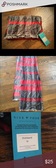 NWT Men's Five Four Striped Scarf (Medium) New with Tags Men's FIVE FOUR gray, red, and black striped scarf. Size Men's Medium. Features white and black fringe on the ends. Perfect condition, tags still attached. Makes a great holiday gift. Retails for $40. Great deal! Price is FIRM. Five Four Accessories Scarves