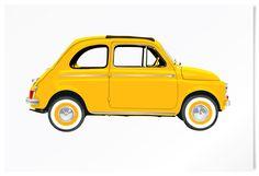 Fiat 500. Classic car limited edition print. #vintage #cars #retro #limited #edition #prints #cinquecento   www.freireprintz.co.uk