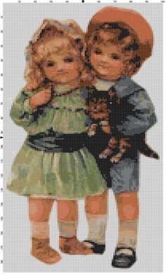 Cross Stitch Pattern Victorian Boy and Girl by theelegantstitchery, $15.00
