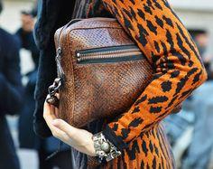 Python leather handbag