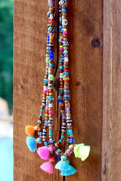 Long Colorful Tribal Tassel Necklace w African Trade Beads, Summer, Beach Mala, Sandalwood, Neon, OOAK, Bohemian, Gypset Style, Festival