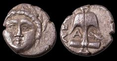 GREEK COIN APOLLONIA PONTIKA. 4TH CENT BC. AR 1/4 DRACHM (DIOBOL)