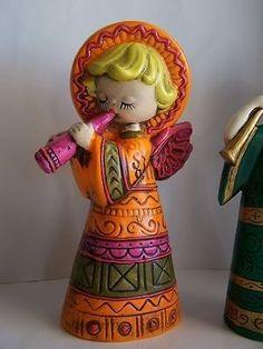 "Vintage Mid-Century Mod 8"" Musical Christmas Angel Figurine Japan paper mache"