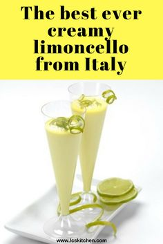 Crema di limoncello, or creamy limoncello, is an easy and amazing Italian drink you can make at home. Ingredients for 2 liters 1 liter of pure alcohol at 95 ° 1 liter of whole milk 16 medium to large lemons, untreated 1 liter of fresh cream 2 vanilla Creamy Limoncello Recipe, Homemade Limoncello, Summer Drinks, Cocktail Drinks, Cocktail Recipes, Alcoholic Drinks, Beverages, Homemade Liqueur Recipes, Homemade Liquor