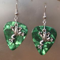 Jumping Frog Guitar Pick Earrings- Your Choice Color. $6.00, via Etsy.