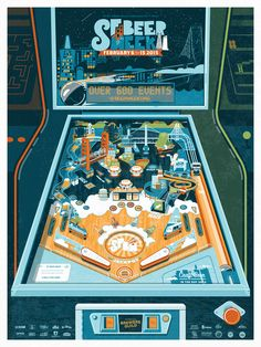 Vintage Arcade Pinball Machine illustration for the SF Beer Week 2015 poster. Illustration & Design by Gamut in San Francisco, CA.  SF Beer Week is an annual craft beer festival celebrating the rich brewing in heritage in the San Francisco bay area.