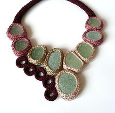 Wine red - pink necklace with 9 sea glasses by astash OOOoo an idea for my sea glass!