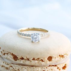"""""""Pavé"""" - a common term in the jewelry world -is #French for """"pavement"""" and a beautiful way to describe this particular diamond setting style.When incorporating French pavé into ring design, four teeny tiny prongs are carved into the gold or platinum, securely grasping each baby diamond.Because each little prong is so small and unobtrusive, a luxurious appearance of """"diamond pavement"""" is created.Combo this stunning setting technique with Ideal cut diamonds and this ring will light up…"""