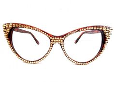 CRYSTAL Cat Eye Glasses-Gold on Brown Frame - Divalicious Jewelry