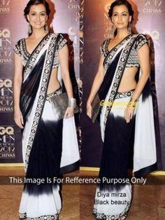 Dia Mirza In Black And White Saree At Gq Awards 2012