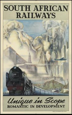 Vintage Travel South African Railways - - Travel posters dating from before the golden age of jet travel are to go on sale in New York, the most expensive of which is valued at Train Posters, Railway Posters, Art Deco Posters, Poster Prints, Gig Poster, Retro Posters, Movie Posters, South African Railways, Belle Epoque